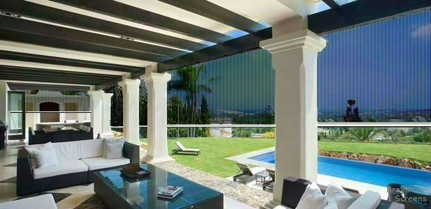 Motorized Retractable Screens for  Patio, Porch,Pool, Decks or any large Openings. These screens are No Blow system tested up to 80Mph winds.More robust than other products on the market.